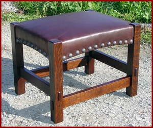 Accurate Replica Gustav Stickley Footstool with Tacks